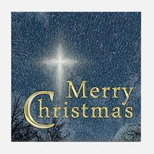 The Bethlehem Star Merry Christmas Tile Coaster