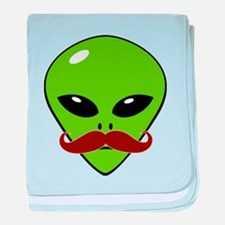 Alien Moustache baby blanket