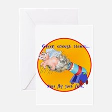 FLYING PIGGY Greeting Card