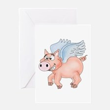 flying Pig 2 Greeting Card