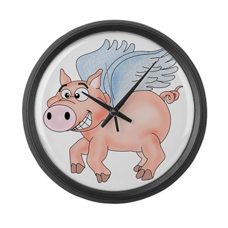 flying Pig 2 Large Wall Clock
