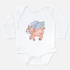flying Pig 2 Long Sleeve Infant Bodysuit