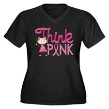 Think Pink Women's Plus Size V-Neck Dark T-Shirt