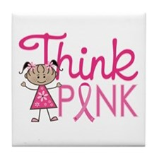 Think Pink Tile Coaster