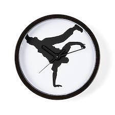 BBOY silhouette blk Wall Clock