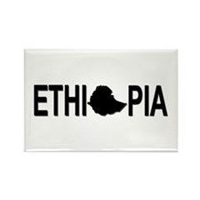 Ethiopia Word with Map Rectangle Magnet