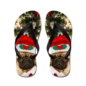 Pug Christmas flip flops Flip Flops