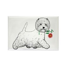 Red Flower Westie III Rectangle Magnet