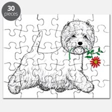 Red Flower Westie III Puzzle