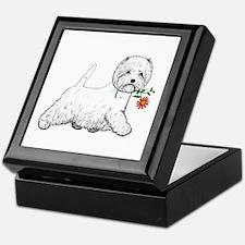 Red Flower Westie III Keepsake Box