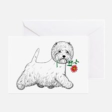 Red Flower Westie III Greeting Card
