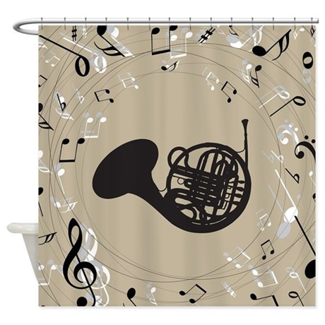 French Horn Musical Gift Shower Curtain