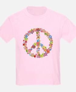 Kids Pink Peace Sign T-Shirt w/ Flowers