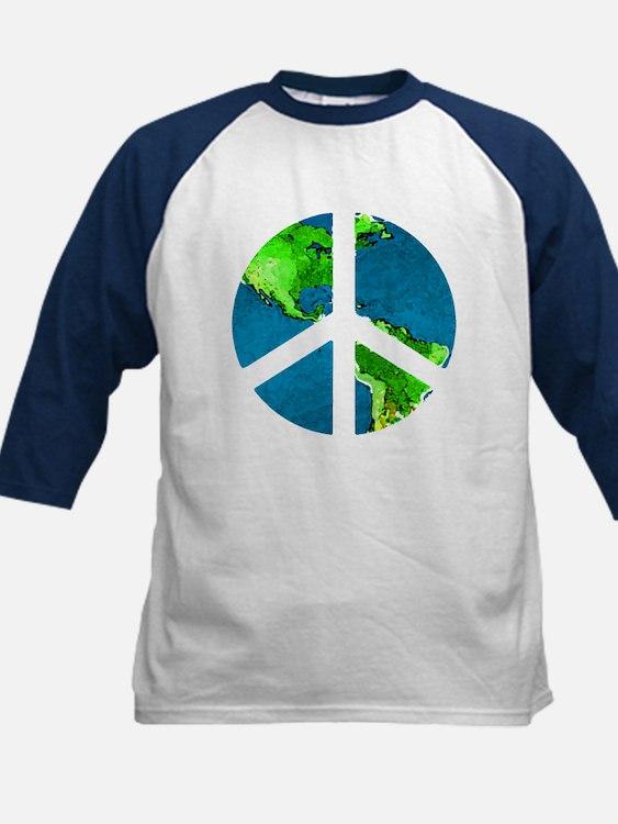 Peace Earth Kids Baseball Tee
