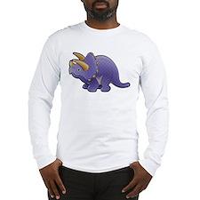 Purple Triceratops Dinosaur Long Sleeve T-Shirt