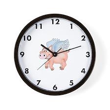 Flying Pig clock Wall Clock
