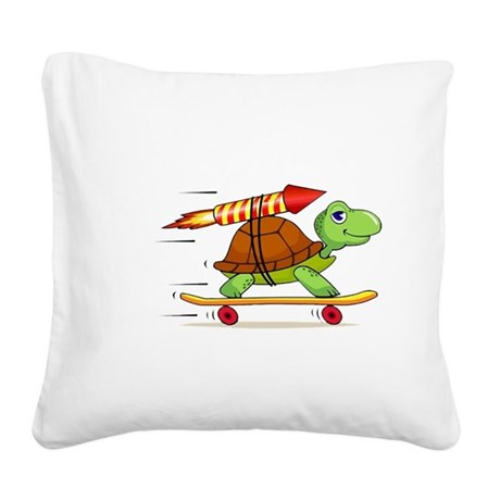 Rocket Propelled Tortoise Square Canvas Pillow