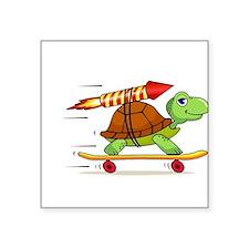 "Rocket Propelled Tortoise Square Sticker 3"" x 3"""