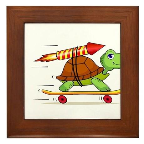 Rocket Propelled Tortoise Framed Tile