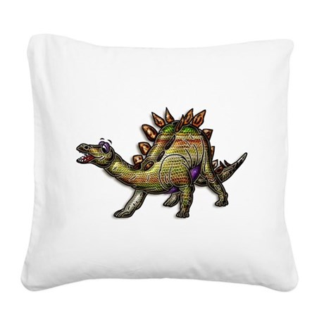Scaly Rainbow Dinosaur Square Canvas Pillow