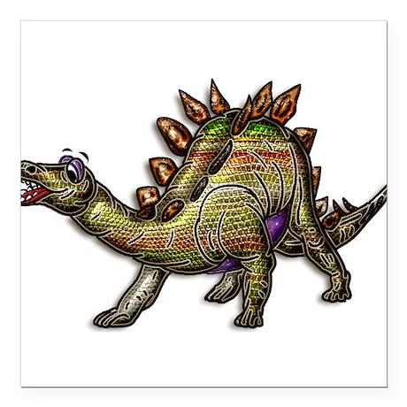 "Scaly Rainbow Dinosaur Square Car Magnet 3"" x 3"""