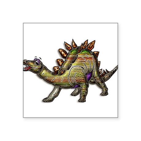 "Scaly Rainbow Dinosaur Square Sticker 3"" x 3"""