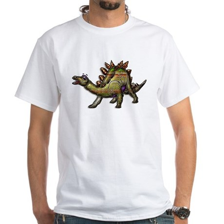 Scaly Rainbow Dinosaur White T-Shirt