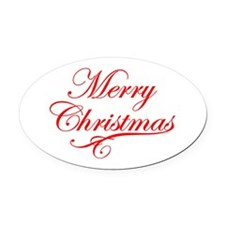 Merry Christmas Oval Car Magnet