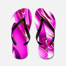 Hot Pink Abstract Flip Flops