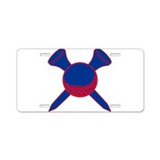 Blue and Red Golf Aluminum License Plate