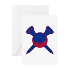 Blue and Red Golf Greeting Card