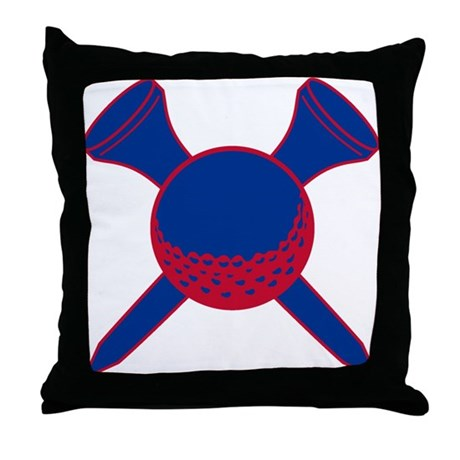 Blue and Red Golf Throw Pillow by ILoveMyTeam