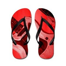 Bold Red Guitar Flip Flops