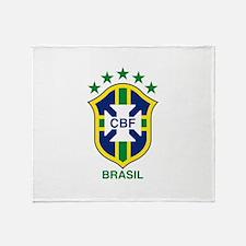brazil soccer logo Throw Blanket