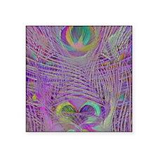 "Purple Peacock Feathers Square Sticker 3"" x 3"""