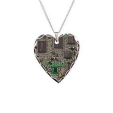 Circuit Board Necklace Heart Charm