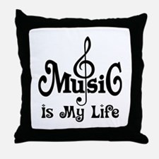 Music Is My Life Quote Throw Pillow