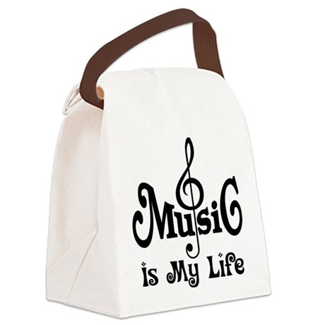 Music Is My Life Quote Canvas Lunch Bag