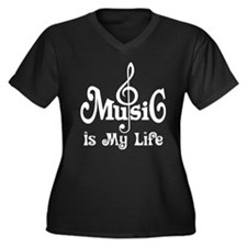 Music Is My Life Quote Women's Plus Size V-Neck Da