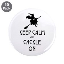 "Keep Calm Cackle On 3.5"" Button (10 pack)"