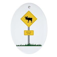 Moose Crossing Oval Ornament