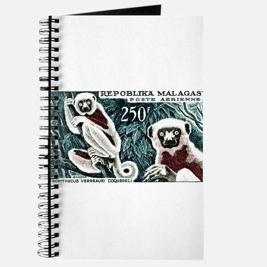 1961 Madagascar Lemur White Sifaka Stamp Journal