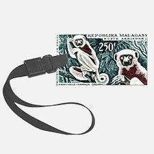 1961 Madagascar Lemur White Sifaka Stamp Luggage Tag
