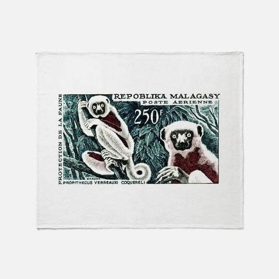 1961 Madagascar Lemur White Sifaka Stamp Stadium