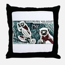 1961 Madagascar Lemur White Sifaka Stamp Throw Pil