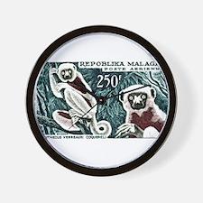 1961 Madagascar Lemur White Sifaka Stamp Wall Cloc