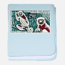 1961 Madagascar Lemur White Sifaka Stamp baby blan