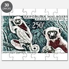 1961 Madagascar Lemur White Sifaka Stamp Puzzle
