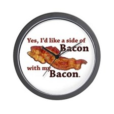 side of bacon Wall Clock