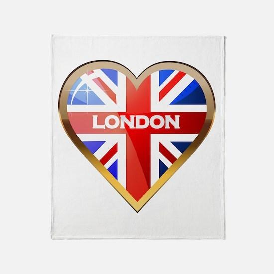 Union Jack Heart Throw Blanket
